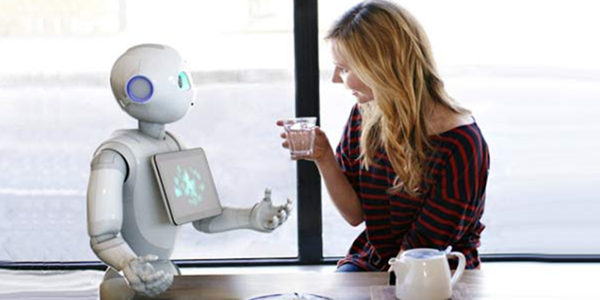 Pepper the robot interacts with human