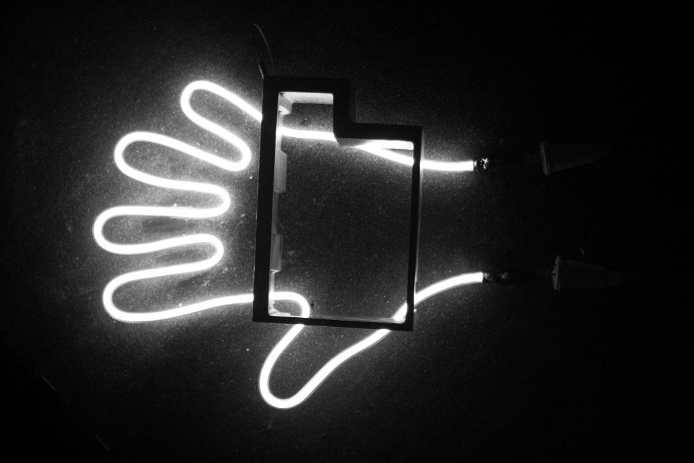 neon light hand
