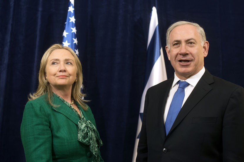 U.S. Secretary of State Clinton meets with Israeli Prime Minister Netanyahu during an offsite bilateral meeting as part of the 67th United Nations General Assembly in New York